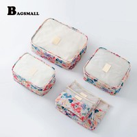 BAGSMALL 6PCS/Set Packing Cubes Travel Accessories Waterproof Luggage Bag Packing Organizers For Clothing Suit Print Suitcase