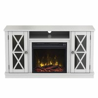 "Bayport TV Stand for TVs up to 55"" with Electric Fireplace, White 