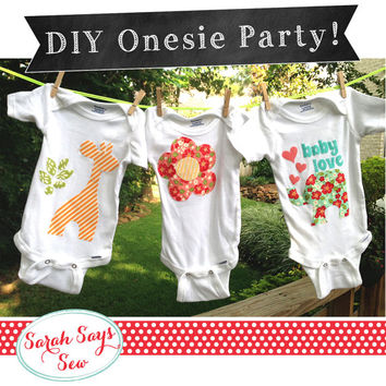 """DIY Baby Shower- Onesuit PARTY - """"The Complete Set"""" Applique Onesuit Templates - Custom Onesuits - Baby Shower Game"""