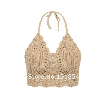 Blusas Sexy Crochet Bikini Top Vintage Boho Bralette Halter Crop Tops Crochet Wave Trim Beach Top Coveups Fashion Women Camisole