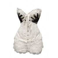 White Hand Print Corset Outfit