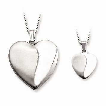 Sterling Silver Polished and Satin Heart Mom Locket & Daughter Pendant Set