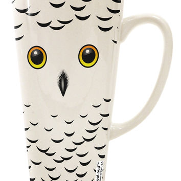 Snowy Owl Cute Animal Face 16 Ounce Conical Latte Coffee Mug All Over Print