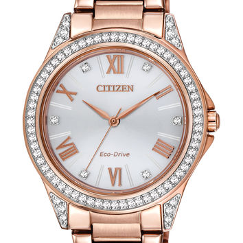 Citizen Eco-Drive Ladies POV Rose Gold-Tone Stainless Steel Watch with Swarovski Accents