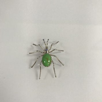 Handmade Native American, Sterling Silver, Navajo Spider Pin, Gaspeite