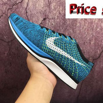 Swift Run NIKE FLYKNIT RACER Blue Glow Black White 526628-402 sneaker