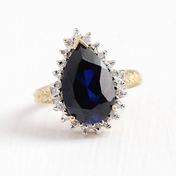 Created Sapphire Ring - Estate 10k Yellow Gold Pear Diamond Halo Engagement - Size 6 3/4 September Birthstone Fine Blue Gemstone Jewelry