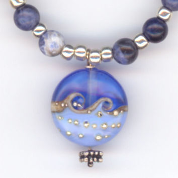 Blue Ocean Waves Glass Pendant with Blue Sodalite Bead by Lehane