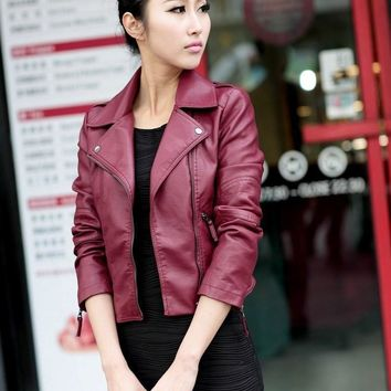 Female 2018 New Design Autumn Pu Leather Jackets Faux Soft Leather Coat Turn-Down Collar Slim Black Zipper Motorcycle Jackets