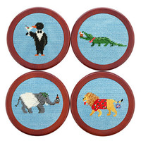 Party Animals Needlepoint Coasters in Light Blue by Smathers & Branson