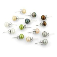 Set of Seven Freshwater Cultured Pearl Stud Earrings with Sterling Silver Posts (7-8mm)