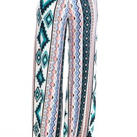 Haute Hues Aztec Print Palazzo Pants - Teal from Bohemian at Lucky 21 Lucky 21