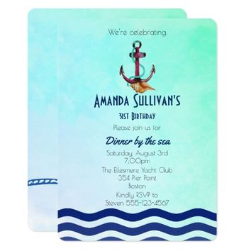 Nautical Theme With Anchor Birthday Invite