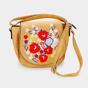 Faux Leather Embroidery Flower Patch Cross Bag