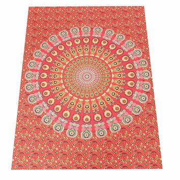 Wall Hanging Tapestry Polyester Indian Mandala 200x145cm Peacock Bohemian Bedspread Throw Blanket Dorm Yoga Mat Room Decoration