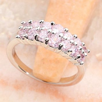 Classic Pink Kunzite 3*3mm Semi-precious Stone Silver Cool For Women Ring Q2543