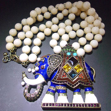 Enamel Colorful Rhinestones Elephant Necklace, Moghul Double Bead Strand, Vintage