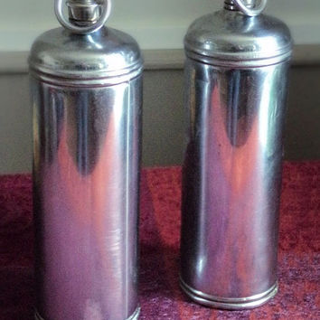 Pair of Antique French Aluminium Hot Water Bottles, French Kettle, French Bedroom, Warming Bed, Book Ends, Loft Deco, Shabby Home Chic
