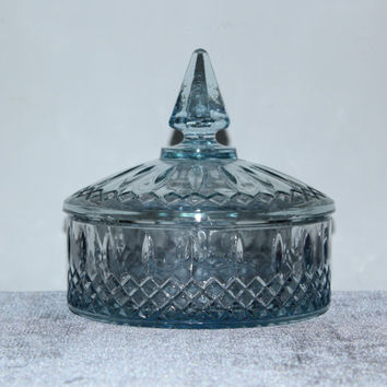 Indiana Glass Princess Light Blue Candy Bowl or Trinket Dish with Lid