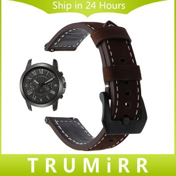 Quick Release Watch Band Italian Genuine Leather Wrist Strap for Fossil Q Founder Gen 1 2 Wander Crewmaster Grant Marshal Brown