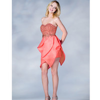 2013 Prom Dresses- Coral Strapless Beaded Short Prom Dress - Unique Vintage - Prom dresses, retro dresses, retro swimsuits.
