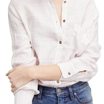 Free People No Limits Plaid Linen Shirt | Nordstrom