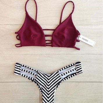 SEXY WINE RED CHEST HOLLOW STRIPE BOTTOM TWO PIECE BIKINI