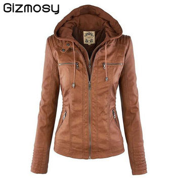 Womens Hooded Faux leather Jacket New Autumn Winter Leather Jacket Women Short Leather Coat Ladies Slim Motorcycle BN151BN