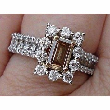 Emerald Cut Diamond - Natural Brown Color Argyle Mine Halo Engagement Ring  14K by Luxinelle® a7deb7d0883a