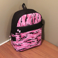 Pink Camo and Black Backpack