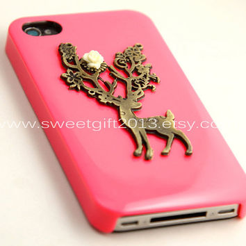 Pink iPhone 4 Case, iPhone 4s Case, vintage style wild deer elk charm iPhone 4 4S case, iPhone 4 Hard Case --- SALE