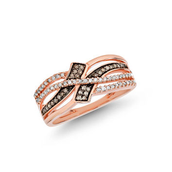 1/4 CT. T.W. Champagne and White Diamond Bypass Ring in 10K Rose Gold