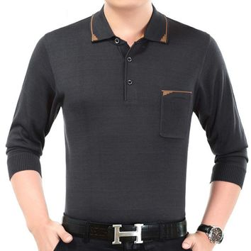 New casual long sleeve business men shirts male solid fashion brand polo shirt designer men
