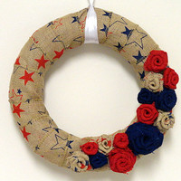 Red and Blue Starred Burlap Wreath with Flowers- Patriotic Wreath- Burlap Wreath- Burlap Flowers- 4th of July Wreath