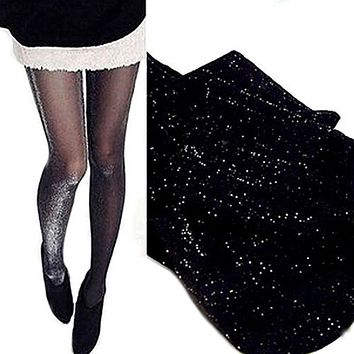 1Pair New Fashion Spring Summer Women Pantyhose Sexy Stockings Skinny Tights Silver Glitter Shimmer Shiny Pantyhose