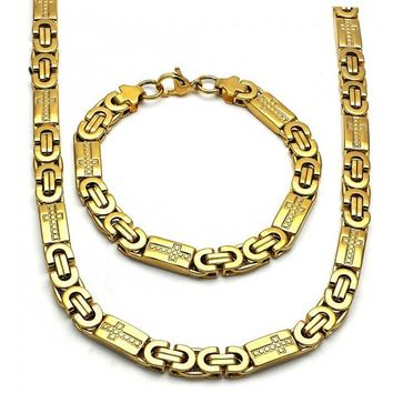 Stainless Steel 06.116.0010 Necklace and Bracelet, Cross Design, Polished Finish, Golden Tone