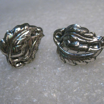 Vintage Sterling Danecraft Leaf Earrings, Screw Back, 1950's-1960's, 3.58 grams