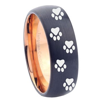10mm Paw Print Design Dome Tungsten Carbide Rose Gold Men's Ring