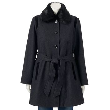 Apt. 9 Belted Wool-Blend Peacoat - Women's Plus Size, Size: