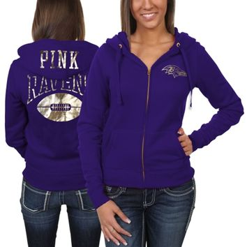 Victoria's Secret PINK Baltimore Ravens Women's Bling Full Zip Hoodie - Purple