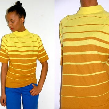 Vtg Retro Yellow & Mustard Striped SS Sweater by LuluTresors