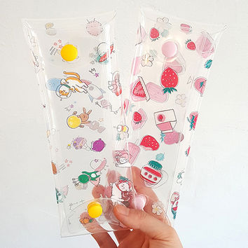 Buri universe strawberry clear folding pencil case