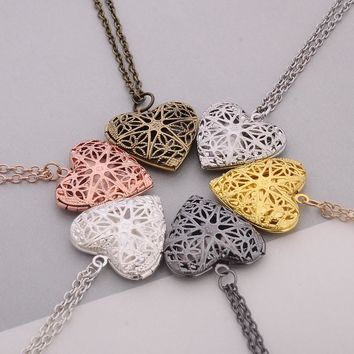 Hollow Love Heart DIY Secret Message Locket Necklace Pendant 6 Colors Openable Vintage Gift For Lover Couples Custom Message