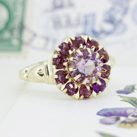 Antique Amethyst Ring   1930s Ring   Art Deco Ring   Alternative Engagement Ring   February Birthstone Ring   10k Yellow Gold Ring   Size 6