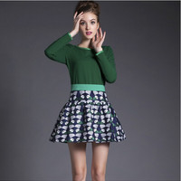 Green Long-Sleeve Knitted Shirt With Printed Skirt