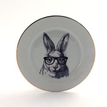 Altered Plate Nerd Rabbit Bunny Glasses Funny Vintage Decorative House Decor Vintage Sugarwhite Houseware