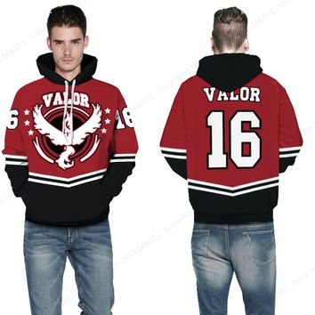 Red Team Valor #16 Mens Skateboarding Sweatshirts Pokemon GO Moltres Hoodies Pullover Autumn Loose Tracksuit Winter Jacket Coat