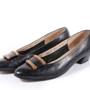 80s Vintage Salvatore Ferragamo Loafers Black Leather Flats Gold Braided Buckle Minimalist Shoes Women Size US 7.5 UK 5.5 EUR 38