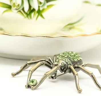Vintage Spider Brooch -  Rhinestone Spider Brooch - Green Spider - Gift for her - Gothic Brooch - Halloween Brooch - Gift for him