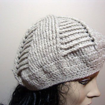 FREE SHIPPING -Hand Knit Hat,Womens Hat,Slouchy Hat Crochet Pattern,The Souffle Beret Hat, Womens Hat,Chunky Knit Winter Fashion Accessories